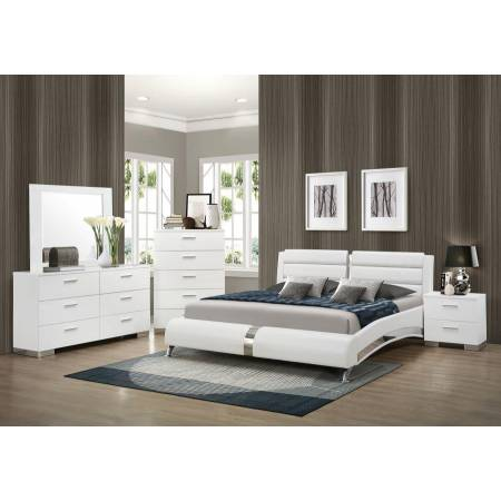 Felicity Contemporary White Upholstered Queen Bed BEDROOM 5PC SET (KE.BED,NS,DR,MR,CH) 300345Q-S5