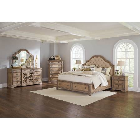 Ilana Traditional Antique Linen and Cream California King Storage Bed Five-Piece Set 205070KW-S5