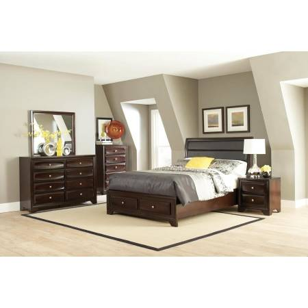 Jaxson Queen Upholstered Storage Bed 5 Piece Set (Q.BED,NS,DR,MR,CH) 203481Q-S5