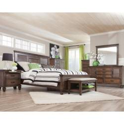 Franco Queen Panel Bed 4 Piece Set (Q.BED,NS,DR,MR) 200971Q-S4