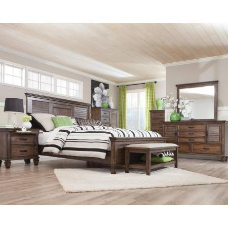 Franco Burnished Oak California King Four-Piece Bedroom Set 200971KW-S4