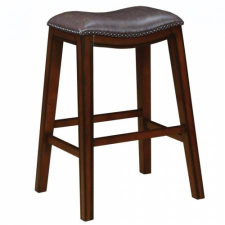 122264 Dining Chairs and Bar Stools Upholstered Backless Bar Stool with Nailhead Trim