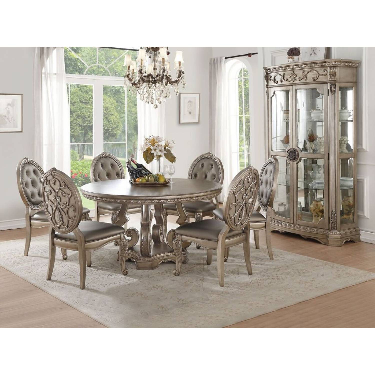 66915 66922 6 7pc Sets Round Dining Table 6 Side Chairs