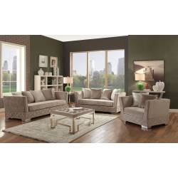 54265 BEIGE SOFA W/5 PILLOWS