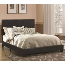 Dorian Black Leatherette Upholstered King Bed 300761KE