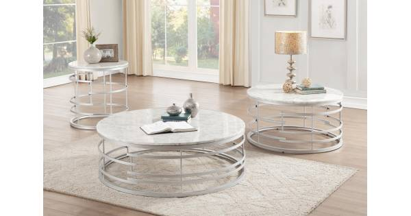 3608sv Brassica 3pc Sets Large Round Cocktail Table Large Round Cocktail Table Round End Table With Faux Marble Top