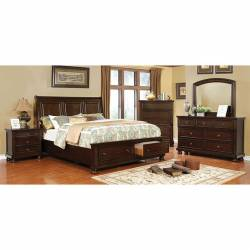 CASTOR 4PC SETS E.KING BED Brown cherry finish