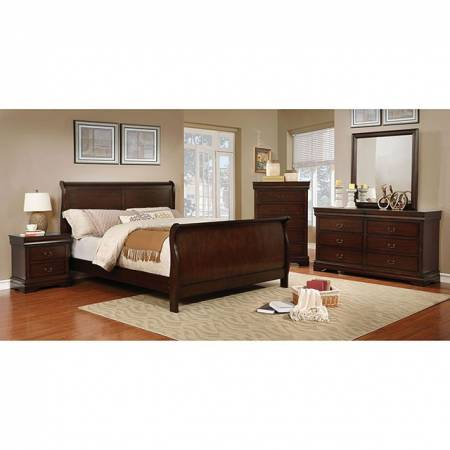EUGENIA 4PC SETS CAL.KING BED Brown cherry finish