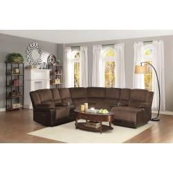 Hankins Sectional Sofa - Chocolate Textured Plush Microfiber - Dark Brown Bi-Cast Vinyl