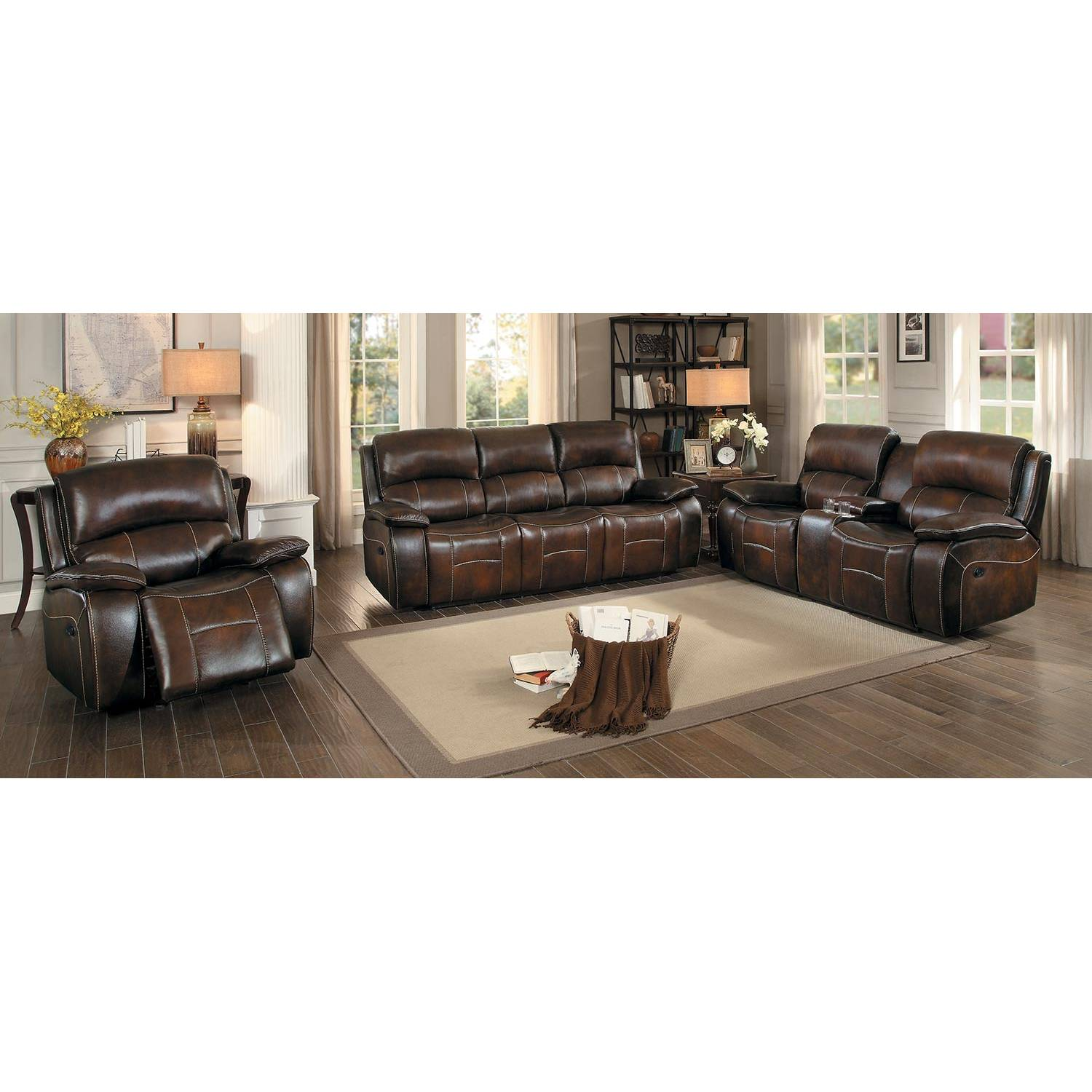 Mahala Power Reclining Sofa Set 3pcs - Brown Top Grain Leather ...
