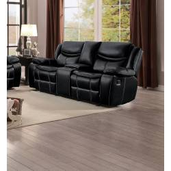 BASTROP Double Glider Reclining Love Seat with Center Console Black