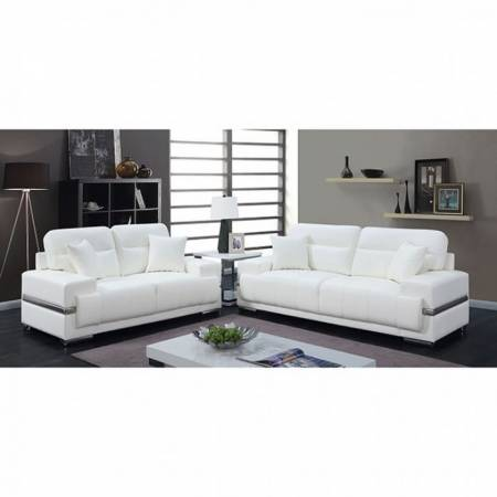 ZIBAK 2PC SETS SOFA + LOVE SEAT White