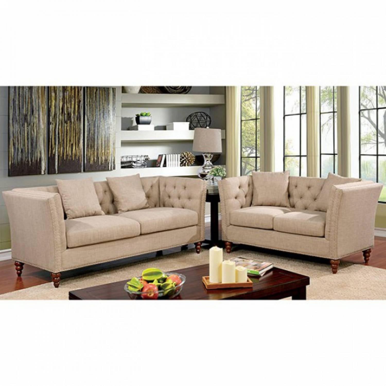 imani 2pc sets sofa love seat beige
