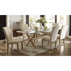 Luella 5PC SETS TABLE+ 4 CHAIRS - Weathered Oak