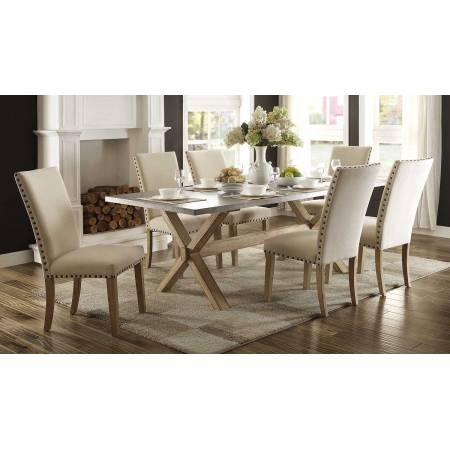 Luella 7PC SETS TABLE+  6 SIDE CHAIRS - Weathered Oak