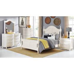 Clementine Bedroom Set 4 Pc - White (QB+NS+DR+MR)