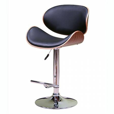 ACBS34 BLACK ADJUSTABLE HEIGHT SWIVEL BAR STOOL WITH CUSHION
