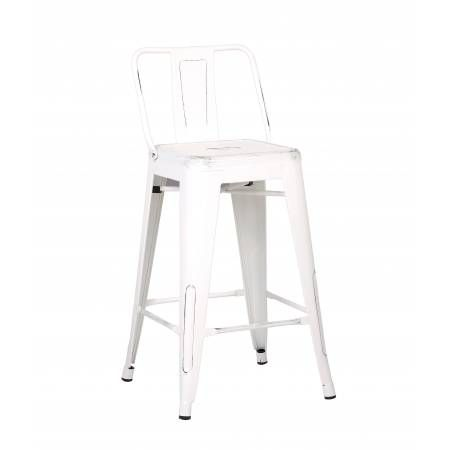 ACBS02 24 INCH WHITE STEEL STOOL SET OF 2