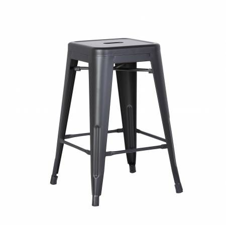 ACBS01 24 INCH BLACK STEEL STOOL SET OF 2