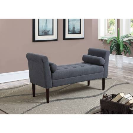 BETTY POLYESTER SLATE BLUE BEDROOM BENCH WITH ARMS