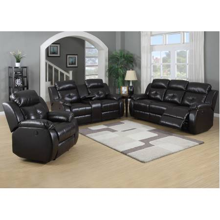 TROY BROWN RECLINING LOVESEAT WITH CONSOLE