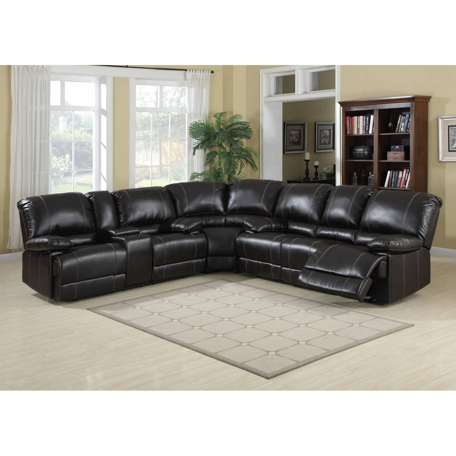 KEVIN COCOA FAUX LEATHER RECLINING SECTIONAL SOFA SET