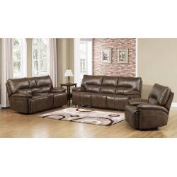 DWAYNE CHOCOLATE RECLINING LOVESEAT WITH CONSOLE