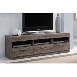 Alvin Rustic Oak Wood Metal TV Stand w/3 Drawers