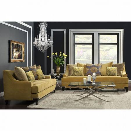 VISCONTTI Traditional Gold 2 Pc Set (Sofa + Loveseat)