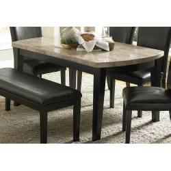 Cristo Dining Table - Black Wood - Marble Top