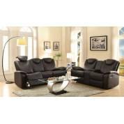 Talbot Reclining Sofa Set - Black Bonded Leather