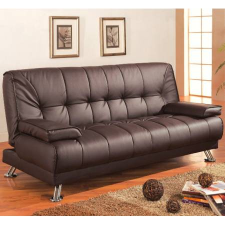 Sofa Beds and Futons Faux Leather Convertible Sofa Bed with Removable Armrests